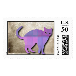 Cat Silhouette On Grungy Background Postage