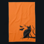 """Cat Silhouette Orange Halloween Kitchen Towel<br><div class=""""desc"""">Add this to the rest of your Halloween kitchen decor!</div>"""