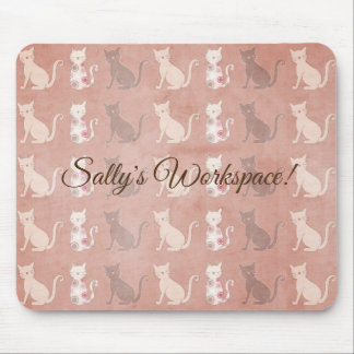 Cat Silhouette Pattern on Brown Personalized Mouse Pad