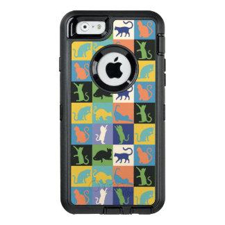 Cat Silhouette Quilt Squares in Vintage Colors OtterBox Defender iPhone Case