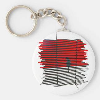 Cat Silhouette - Red Keychain