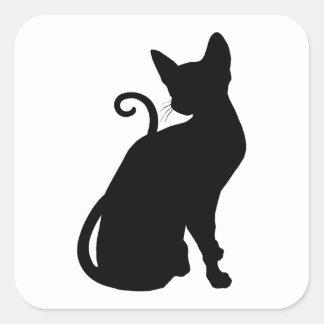 Cat Silhouette Square Sticker