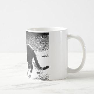cat silhouette standing coffee mug