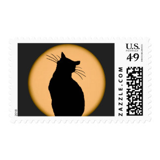 Cat Silhouetted Against the Moon Postage Stamp