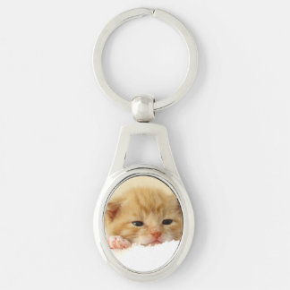 cat Silver-Colored oval metal keychain