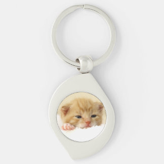 cat Silver-Colored swirl metal keychain