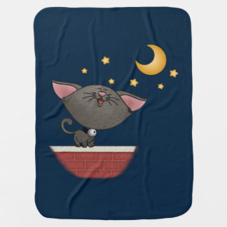Cat Singing on a Brick Wall at Night Caterwauling Receiving Blanket
