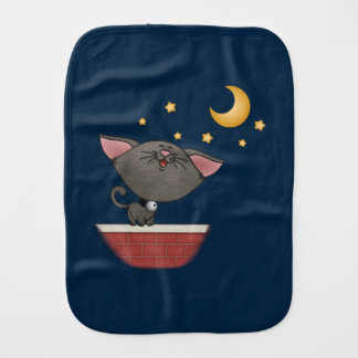 Cat Singing on a Brick Wall at Night Caterwauling Baby Burp Cloths