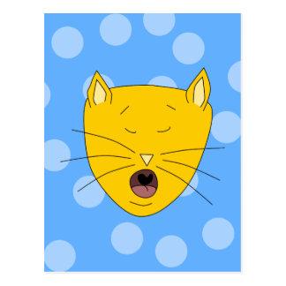 Cat Singing. Postcard