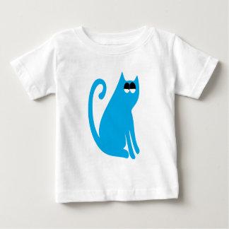 Cat Sit And Look Back Blue Satisfied Smug Eyes Tee Shirt