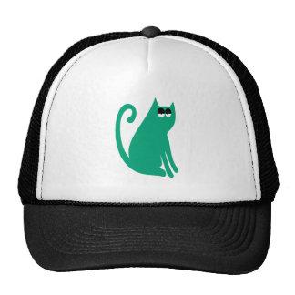 Cat Sit And Look Back Green Hi Eyes Cap