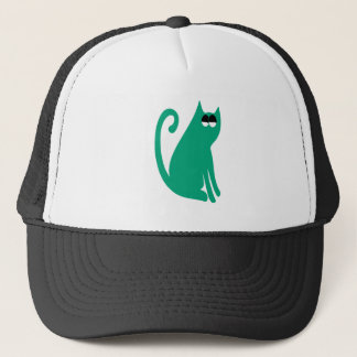 Cat Sit And Look Back Green Satisfied Smug Eyes Trucker Hat