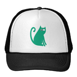 Cat Sit And Look Back Green Stunned Eyes Cap