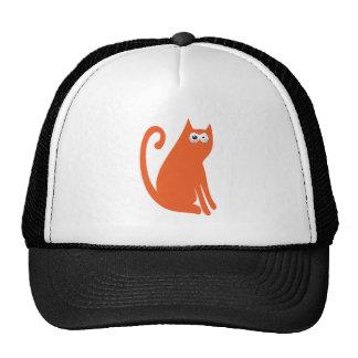 Cat Sit And Look Back Orange Manic Bloodshot Eyes Trucker Hat
