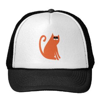 Cat Sit And Look Back Orange Satisfied Smug Eyes Cap