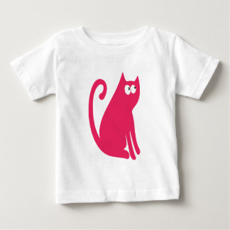 Cat Sit And Look Back Pink Look Up There Eyes Baby T-Shirt
