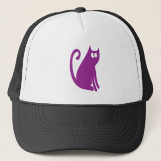 Cat Sit And Look Back Purple Look Up There Eyes Trucker Hat
