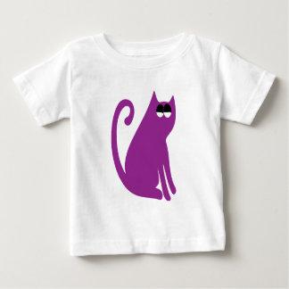 Cat Sit And Look Back Purple Satisfied Smug Eyes Shirt