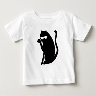 Cat Sit Pointing Black Satisfied Smug Eyes T-shirts
