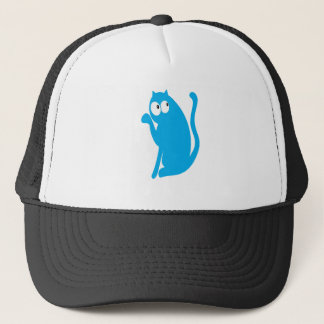 Cat Sit Pointing Blue Look Up There Eyes Trucker Hat