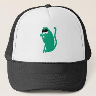 Cat Sit Pointing Green Satisfied Smug Eyes Trucker Hat