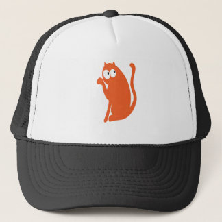 Cat Sit Pointing Orange Look Up There Eyes Trucker Hat