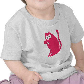 Cat Sit Pointing Pink Hello Eyes Tees