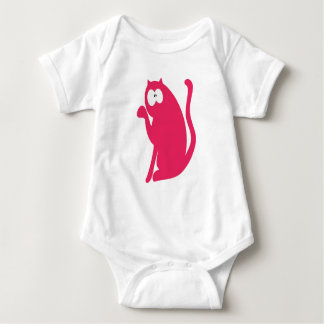 Cat Sit Pointing Pink Wtf Eyes Baby Bodysuit