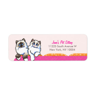 Cat Sitter Business Ragdoll Couch Pink Label