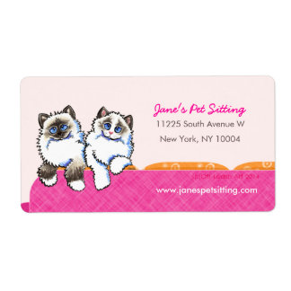 Cat Sitter Business Ragdoll Couch Pink Shipping Label