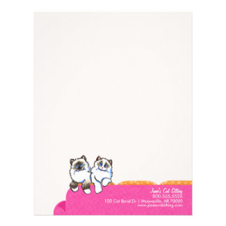 Cat Sitter Ragdoll Couch Pink Business Form Letterhead