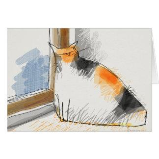 Cat sitting at doorway card