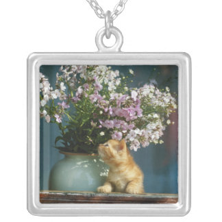 Cat sitting besides flower vase on window sill silver plated necklace