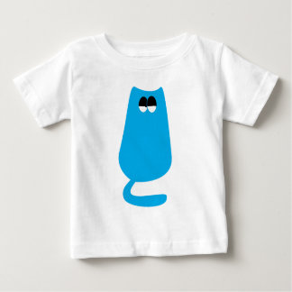 Cat Sitting Blue Satisfied Smug Eyes Tshirt