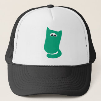 Cat Sitting Bundle Green Sad Eyes Trucker Hat