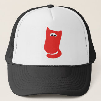 Cat Sitting Bundle Red Sad Eyes Trucker Hat