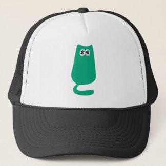 Cat Sitting Green Cash Eyes Blue Trucker Hat