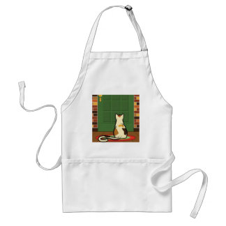 Cat sitting in front of the door step. Raster.jpg Adult Apron