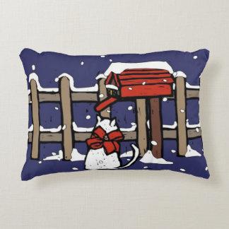 Cat sitting near a mailbox in snowfall decorative pillow