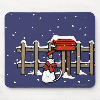 Cat sitting near a mailbox in snowfall mouse pad