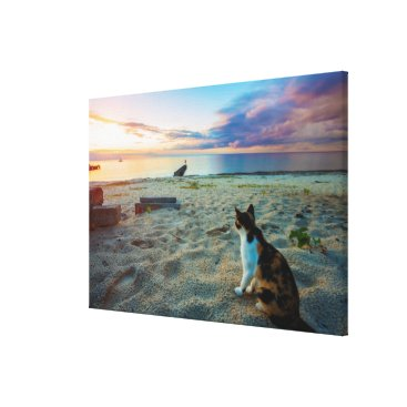 Beach Themed Cat Sitting On A Beach Canvas Print