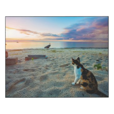 Beach Themed Cat Sitting On A Beach Wood Print