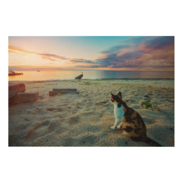 Beach Themed Cat Sitting On A Beach Wood Wall Art