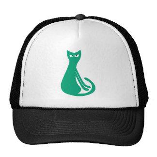 Cat Sitting Sideways Green Dissaproval Eyes Cap