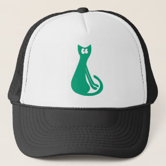 Cat Sitting Sideways Green Look Up There Eyes Trucker Hat