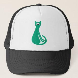 Cat Sitting Sideways Green Sad Eyes Trucker Hat