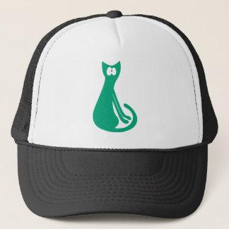 Cat Sitting Sideways Green Wtf Eyes Trucker Hat