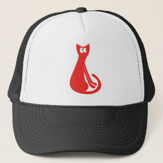 Cat Sitting Sideways Red Look Up There Eyes Trucker Hat