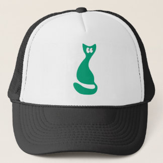 Cat Sitting Turnaround Green Look Up There Eyes Trucker Hat