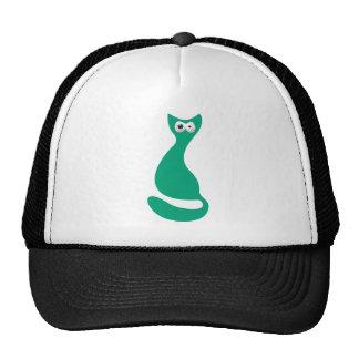 Cat Sitting Turnaround Green Manic Bloodshot Eyes Trucker Hat